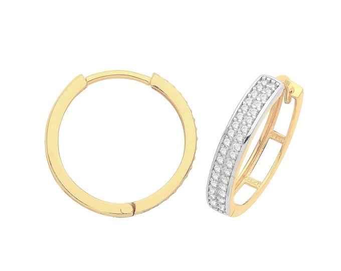 9ct Yellow Gold Two Row Cz Channel Set 13mm Diameter Hinged Huggies Hoop Earrings - Real 9K Gold