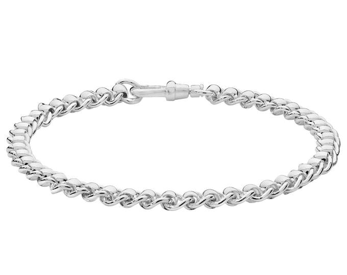 "Ladies Contemporary 925 Sterling 4mm Silver Roller Ball Design 7"" Bracelet"