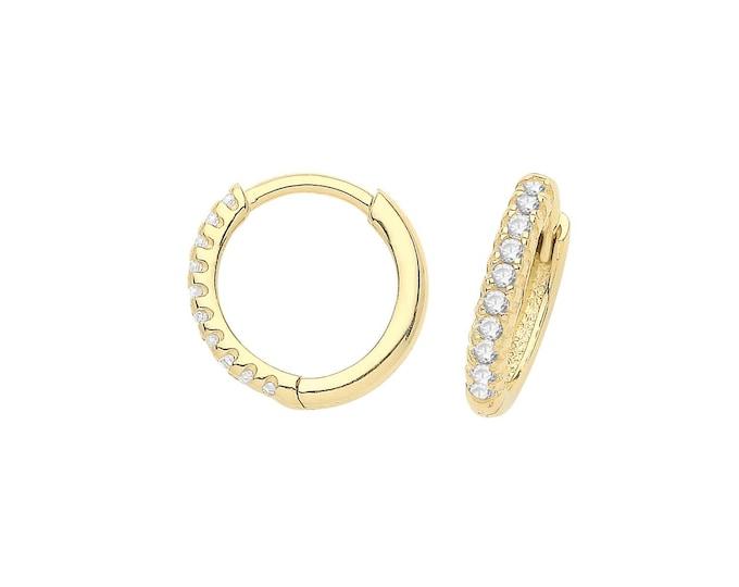 9ct Yellow Gold Half Cz 8.5mm Diameter Hinged Clickers Hoop Earrings - Real 9K Gold