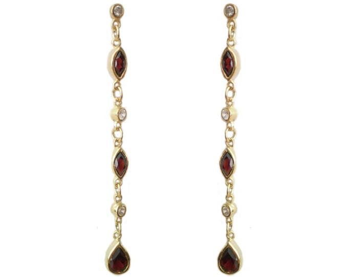 Gold on Sterling Silver Chain Tear Drop Earrings with Red Garnets & Cz Stones