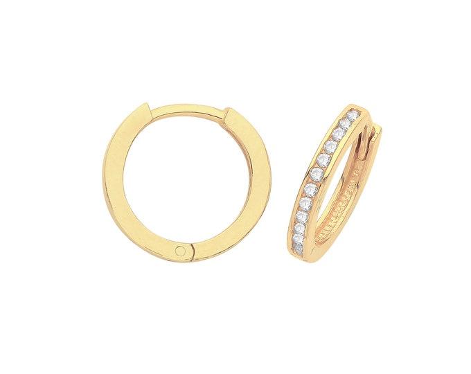 9ct Yellow Gold Half Cz Channel Set 10mm Diameter Hinged Huggies Hoop Earrings - Real 9K Gold