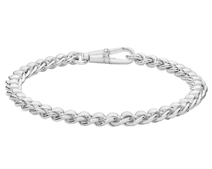 "Ladies Contemporary 925 Sterling 6mm Silver Roller Ball Design 7"" Bracelet Hallmarked"