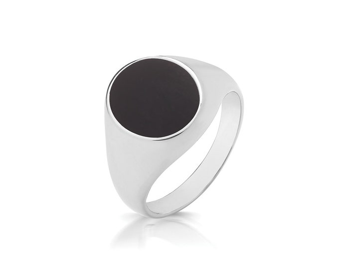 925 Sterling Silver 12x10mm Oval Black Onyx Signet Ring With Plain Sides