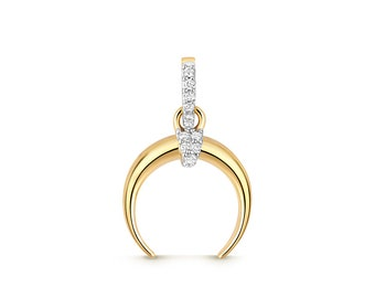 9ct Yellow Gold 0.05ct Pave Diamond Horn Moon Charm Pendant - Real 9K Gold