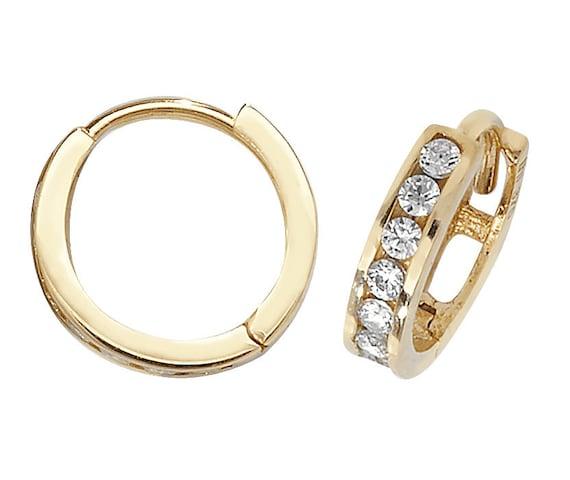 9ct Yellow Gold /& Cubic Zirconia Channel Set 15mm Hoop Earrings Jewellery