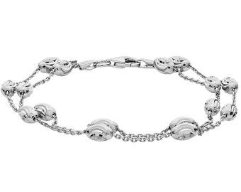 "Ladies 925 Sterling Silver Two Row Diamond Cut Oval Beads 7"" Bracelet"