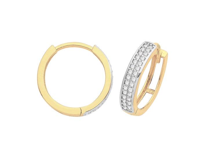9ct Yellow Gold Two Row Cz Channel Set 11mm Diameter Hinged Huggies Hoop Earrings - Real 9K Gold