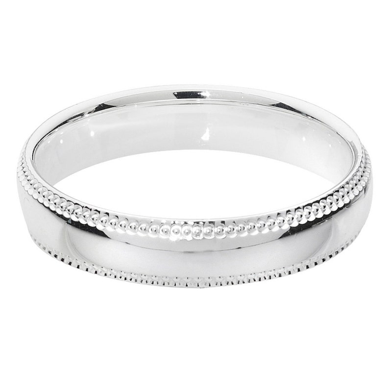 9ct White Gold Ring Court Shape Millgrain Edge Wedding Band 3mm Band