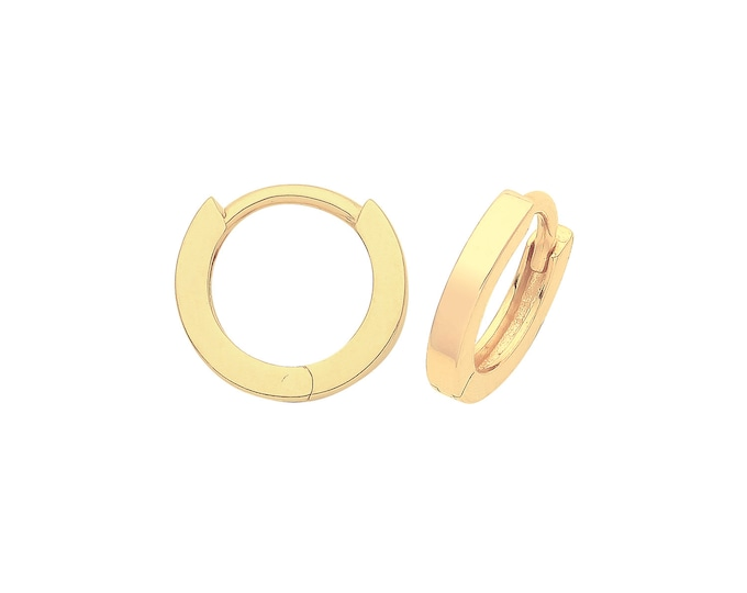9ct Yellow Gold 8mm Diameter Hinged Plain Square Tube Huggies Hoop Earrings - Real 9K Gold