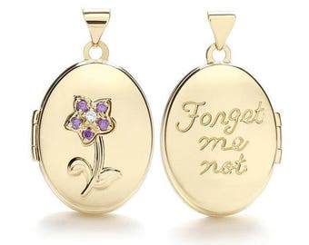 9ct Yellow Gold Purple Cz 'Forget Me Not' Oval Shaped 2 Photo Flower Locket - Real 9K Gold