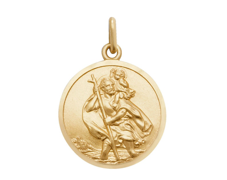 9CT GOLD ST CHRISTOPHER SOLID 18MM ROUND SATIN PENDANT MEDALLION TRAVEL CHARM