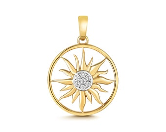 9ct Yellow Gold 0.13ct Diamond 15mm Sun Charm Pendant Hallmarked - Real 9K Gold