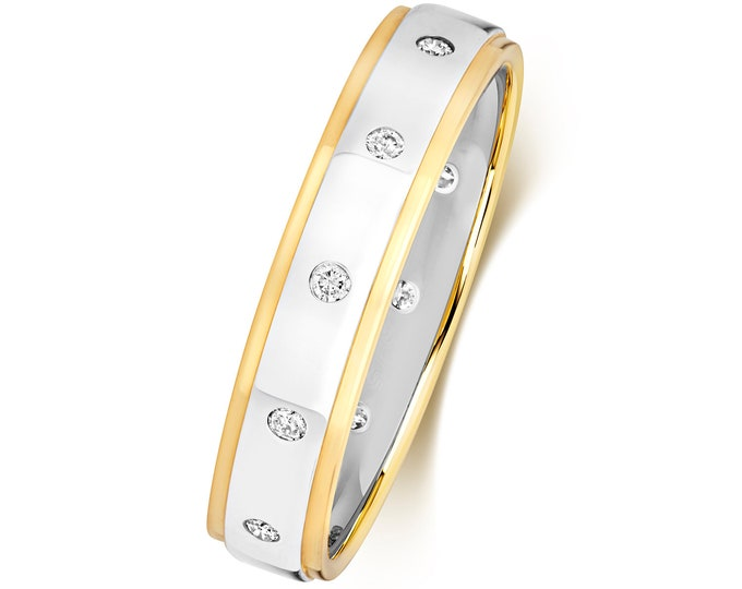 9ct Two Colour Gold 4mm Court Profile 0.12ct Rubover Set Diamond Wedding Ring Hallmarked - Real 9K Gold