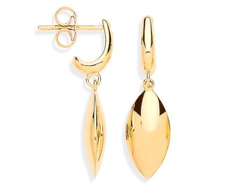 9ct Yellow Gold 2.8cm Hollow Marquise Teardrop Earrings - Real 9K Gold