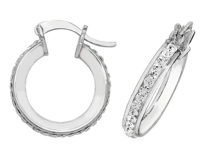 925 Sterling Silver Hoop Earrings Channel Set With Round Cut Crystals