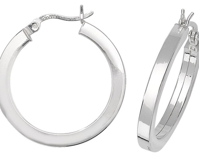 Pair of 925 Sterling Silver Plain Polished 2mm Flat Tube Hoop Earrings  - Choice of sizes