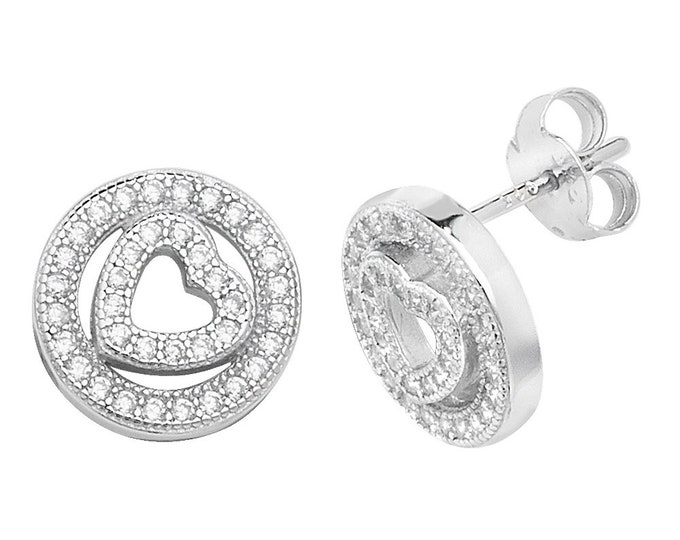 Vintage Design 925 Sterling Silver 10mm Pave Cz Heart In Circle Stud Earrings