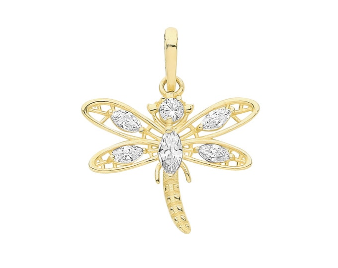 9ct Yellow Gold 14x12mm Marquise Cz Dragonfly Charm Pendant - Real 9K Gold