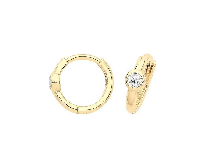 9ct Yellow Gold Single Bezel Cz 8mm Diameter Hinged Clicker Hoop Earrings - Real 9K Gold