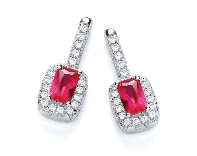Emerald Cut Red Ruby Cz Cluster Drop Stud Earrings 925 Sterling Silver