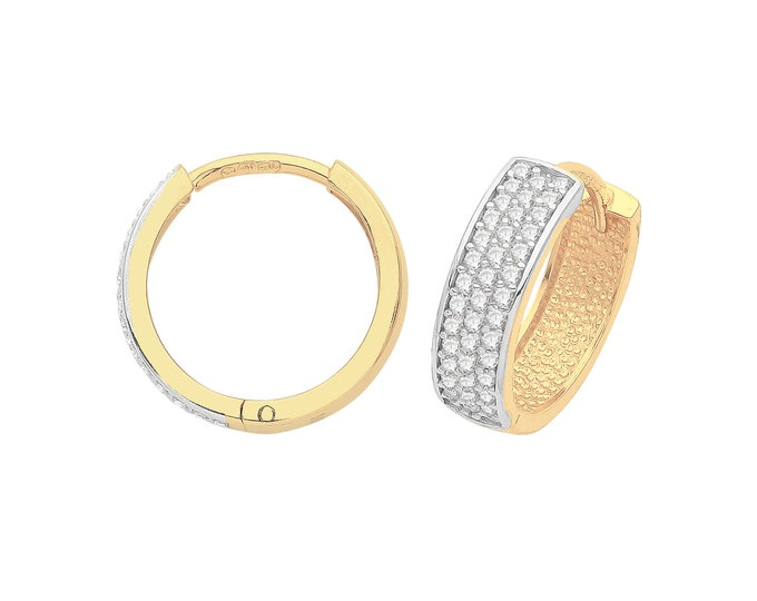 9ct Yellow Gold 3 Row Pave Cz 12mm Diameter Hinged Huggies Hoop Earrings Hallmarked - Real 9K Gold
