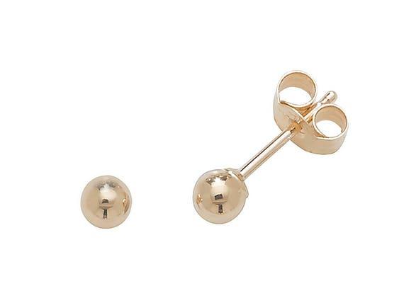 14K Solid Rose /& Yellow Gold Flat Ball Studs 3mm// 4mm// 5mm// 6mm// 7mm Hollow Light Weight Dainty Plain Gold Ball Stud Earrings