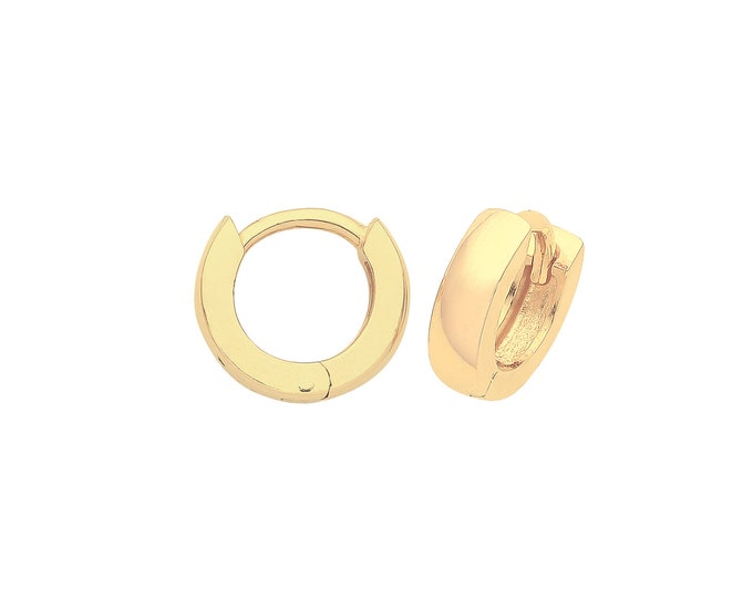 9ct Yellow Gold 7mm Diameter Hinged Plain 2.8mm Rounded Huggies Hoop Earrings - Real 9K Gold