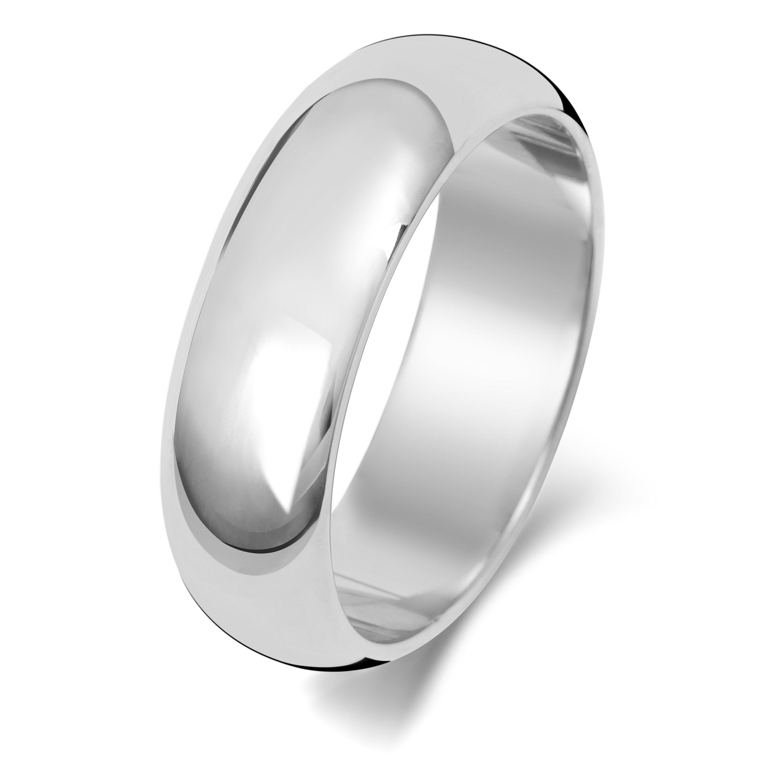 18ct White Gold Plain D Shape Wedding Ring Hallmarked