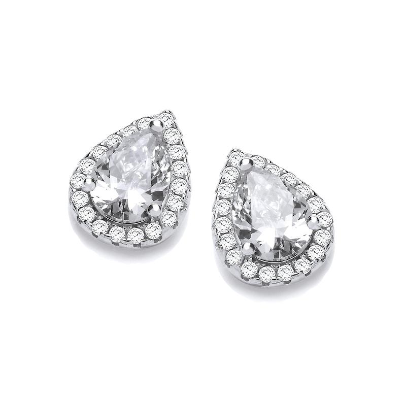 6adef4758 Rhodium Plated Sterling Silver Teardrop Cluster Pear Cut Cz | Etsy