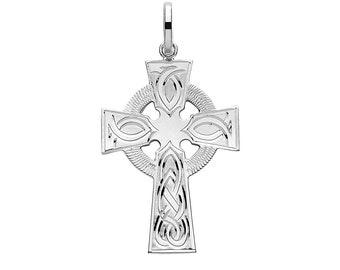 925 Solid Silver Celtic Knot Engraved 3.2cm Cross Pendant