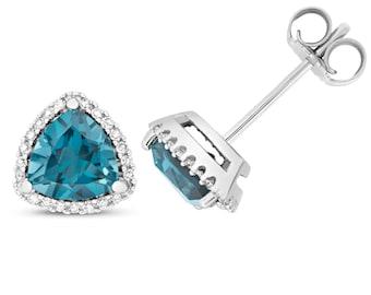 9ct Gold 0.14ct Diamond & Trillion Cut London Blue Topaz 6mm Stud Earrings - Real 9K Gold