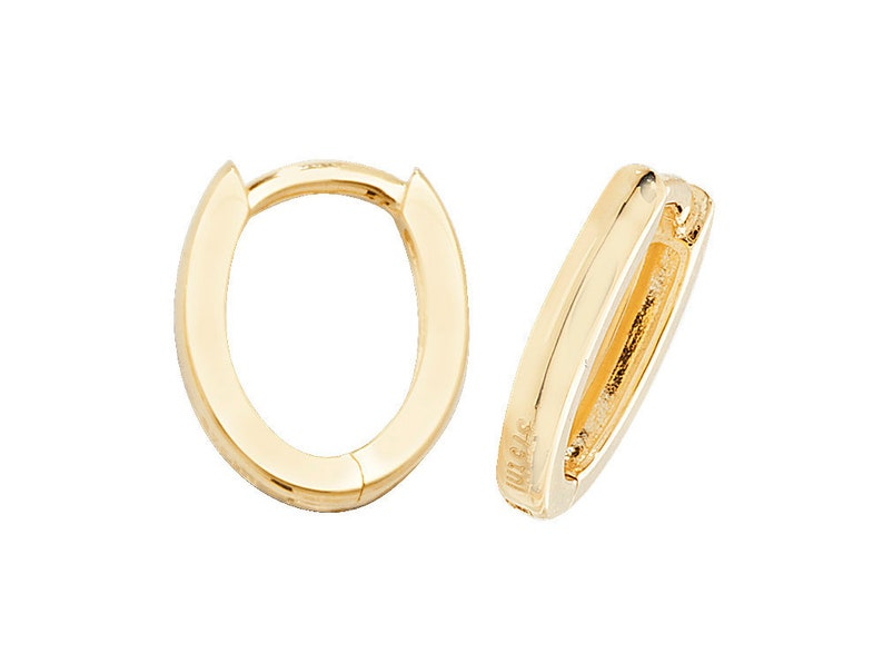 2adf2b3ea6747 9ct Yellow Gold 10x8mm Plain D Shaped Hinged Oval Hoop Earrings Hallmarked