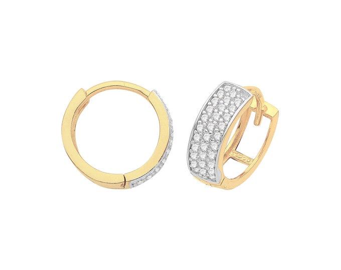 9ct Yellow Gold 3 Row Pave Cz 10mm Diameter Hinged Huggies Hoop Earrings - Real 9K Gold