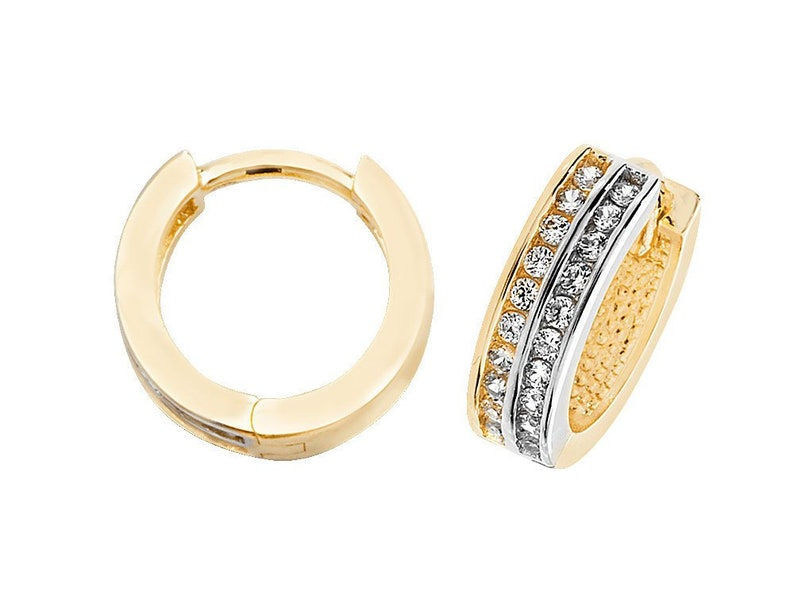 30a57140401a3 9ct Two Colour Gold 10mm Channel Set Cz Hinged Hoop Earrings Hallmarked