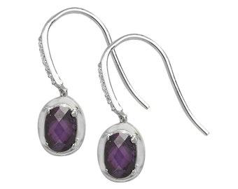 925 Sterling Silver Oval Purple Amethyst Fish Hook 22mm Drop Earrings