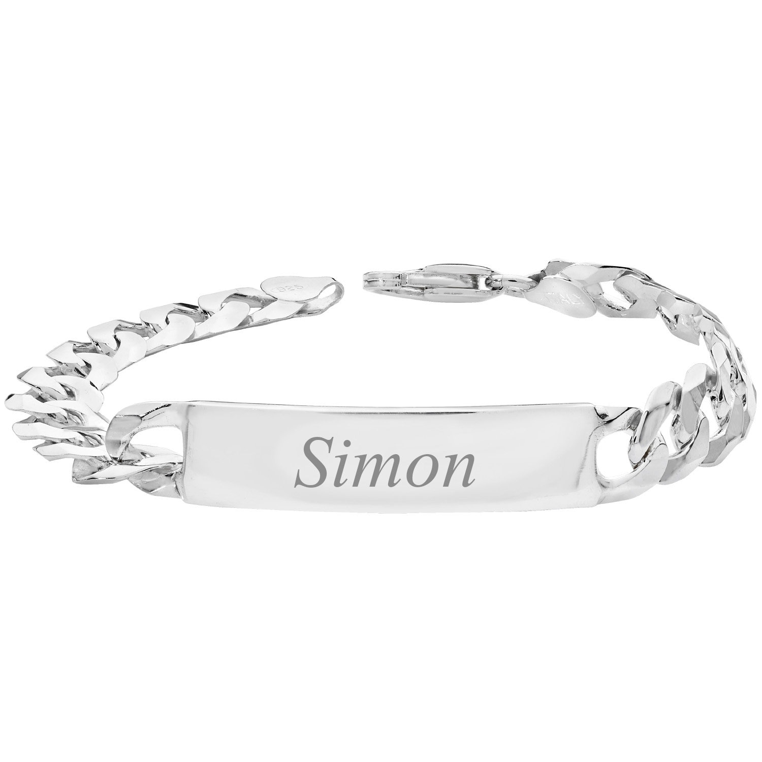 Bracelet Mens 7mm Sterling Silver Engravable Curb I.D