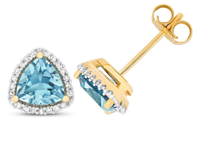 9ct Gold 0.14ct Diamond & Trillion Cut Swiss Blue Topaz 6mm Stud Earrings