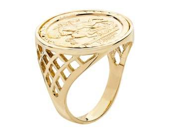 9ct Yellow Gold St George Medallion Half Sovereign Coin Ring Hallmarked - Real 9K Gold