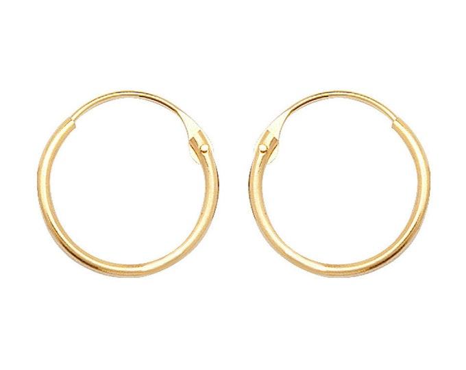 9ct Yellow Gold 9mm Diameter Hinged Threader Sleeper Hoop Earrings - Real 9K Gold