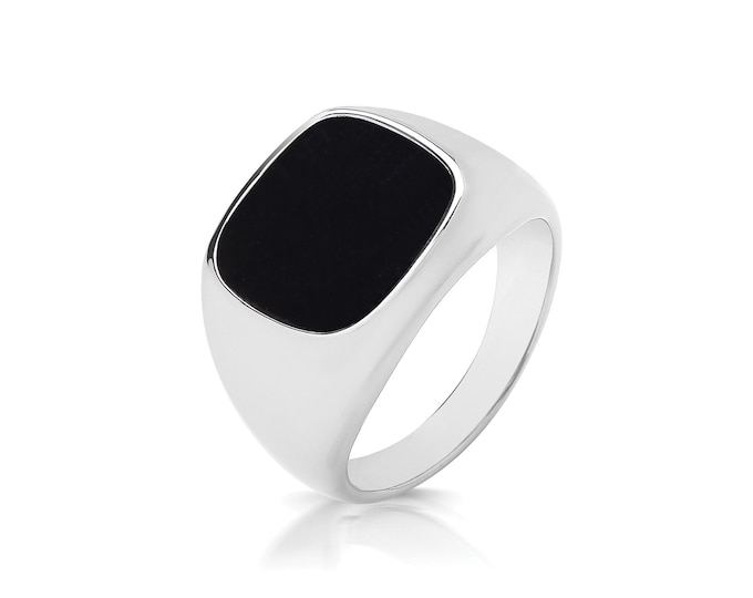 925 Sterling Silver 12x11.5mm Cushion Cut Black Onyx Signet Ring With Plain Sides