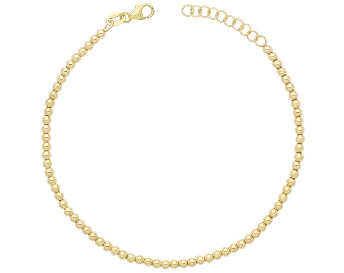 """Ladies 9ct Yellow Gold 7"""" Hollow Plain Polished Beaded Bracelet Hallmarked - Real 9K Gold"""