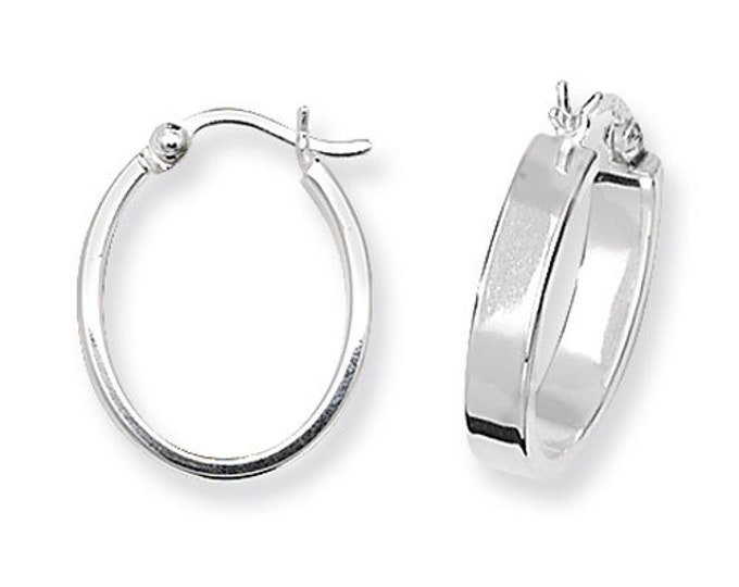 925 Sterling Silver Small 15x12mm Flat Tube Oval Polished Hoop Earrings