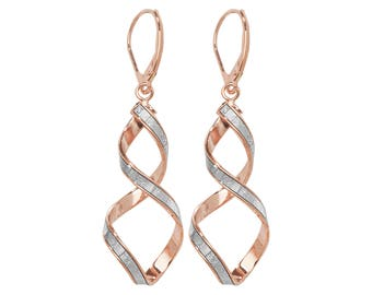 9ct Rose Gold Stardust Twisted Spiral Long 45mm Drop Earrings Hallmarked - Real 9K Gold