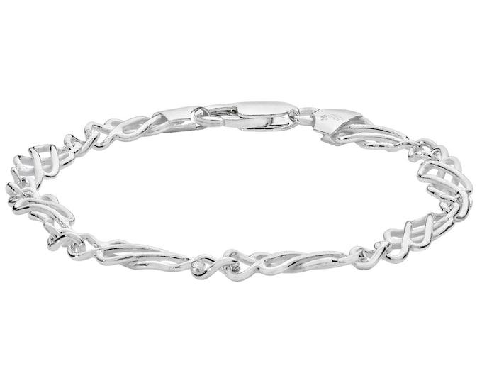 """Ladies 925 Sterling Silver Celtic Knot Design 7"""" Bracelet"""