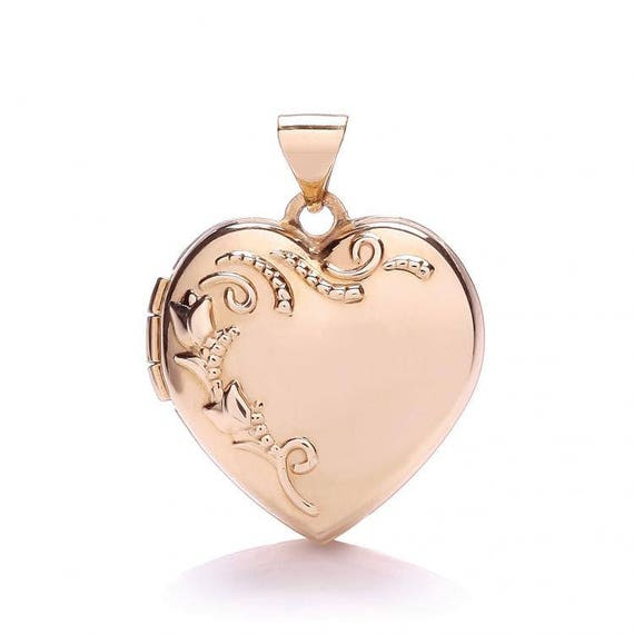 9ct Yellow /& White Gold Patterned Family Heart Shape Locket