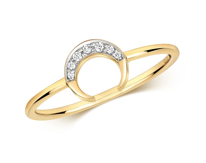 Modern 9ct Yellow Gold 0.03ct Pave Diamond Horn Ring Hallmarked - Real 9K Gold