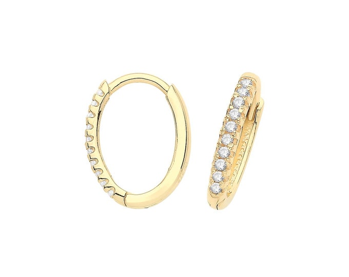 9ct Yellow Gold Half Cz 10x8mm Oval Hinged Clickers Hoop Earrings - Real 9K Gold