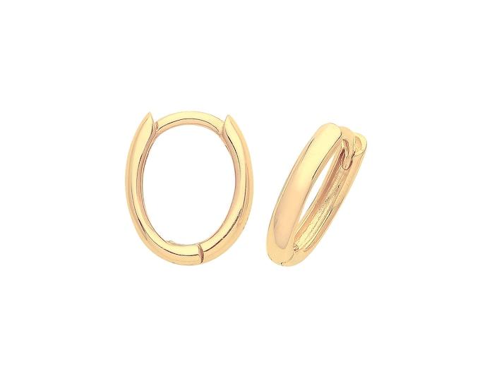 9ct Yellow Gold 10x6mm Oval Hinged Plain Huggies Hoop Earrings - Real 9K Gold