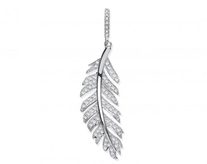9ct White Gold Vintage Design 0.30ct Pave Set Diamond Feather Pendant