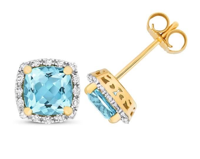 9ct Gold 0.16ct Diamond & Cushion Cut Swiss Blue Topaz 6mm Stud Earrings